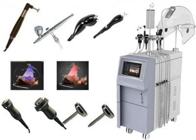 Комбиниран уред 9 в 1 за кислородна мезотерапия, кислородна инжекция, фотон, радиочестотен лифтинг и озон терапия